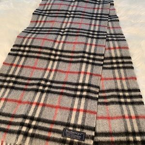 Authentic Burberry Plaid Gray Scarf